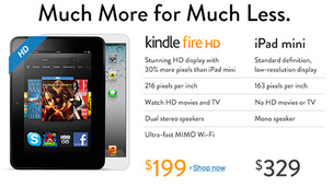 Amazon takes on iPad Mini with homepage update