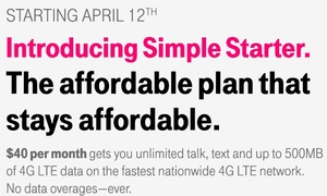 T-Mobile's new Simple Starter plan offers unlimited talk, text and 500MB data for $40 per month