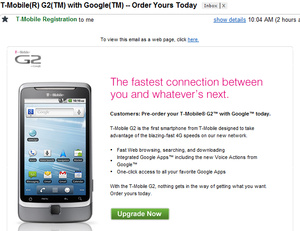 T-Mobile G2 goes up for pre-order from carrier